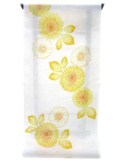 :::: 伝 統 の 注 染 ゆ か た ::::ほんのり透け感 縞模様の変わり織り   白地に元気いっぱいの向日葵柄(反物)◇ お仕立て(国内手縫い)¥10,000(税別)で承ります。