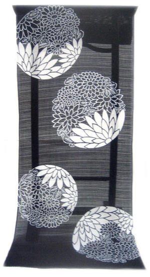 :::: 伝 統 の 注 染 ゆ か た ::::とっておきの涼感にうっとり 濃紺の木綿絽   花丸紋取り 陰日向菊尽くし柄(反物)◇ お仕立て(国内手縫い)¥11,000(税別)で承ります。