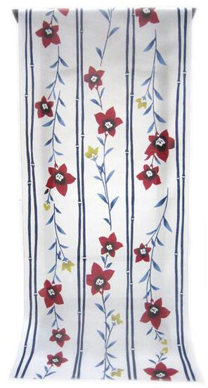 :::: 伝 統 の 注 染 ゆ か た ::::清涼感あふれる純白の木綿に   竹縞取り 花びら鮮やかな紅色の桔梗柄(反物)◇ お仕立て(国内手縫い)¥11,000(税別)で承ります。