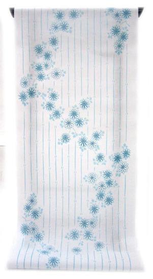 :::: 伝 統 の 注 染 ゆ か た ::::清涼感あふれる純白の木綿に   薄浅葱色 変わり縞に連なるひな菊柄(反物)◇ お仕立て(国内手縫い)¥11,000(税別)で承ります。