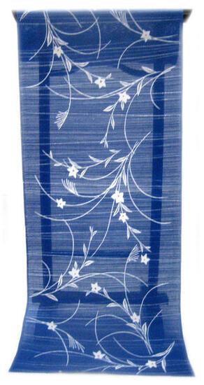 :::: 伝 統 の 注 染 ゆ か た ::::とっておきの涼感にうっとり 紺青色の木綿絽   ススキの間を楚々と咲く線描の桔梗柄(反物)◇ お仕立て(国内手縫い)¥11,000(税別)で承ります。