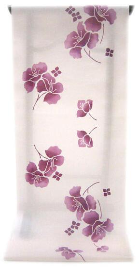 :::: 伝 統 の 注 染 ゆ か た ::::一目惚れするほど綺麗な薄桜地に   艶のある梅紫ぼかしのバイカウツギ柄(反物)◇ お仕立て(国内手縫い)¥11,000(税別)で承ります。
