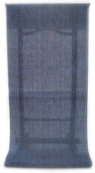 :::: 伝 統 の 捺 染 ゆ か た ::::シャリっと綿麻変わり織り   瑠璃紺色濃淡の細かい格子柄(反物・広巾)◇ お仕立て(国内手縫い)¥11,000(税別)で承ります。