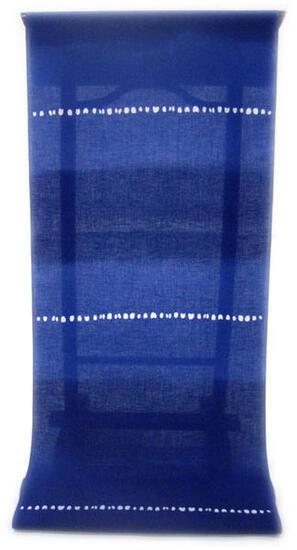 :::: 伝 統 の 注 染 ゆ か た ::::明るく華やかな色合いロイヤルブルー瑠璃色に   愛嬌たっぷりの濃淡二段ぼかし柄(反物・広巾)◇ お仕立て(国内手縫い)¥11,000(税別)で承ります。