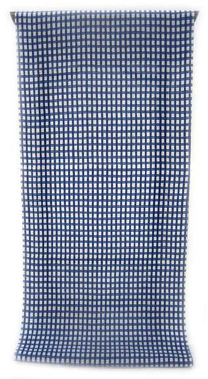 :::: 伝 統 の 注 染 ゆ か た ::::清涼感あふれる純白の木綿に   紺青色濃淡のよろけ格子柄(反物・広巾)◇ お仕立て(国内手縫い)¥11,000(税別)で承ります。
