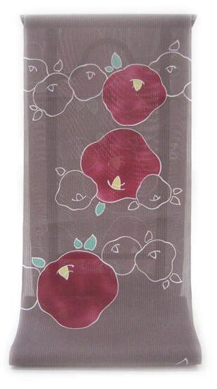 :::: 伝 統 の 捺 染 ゆ か た ::::とっておきの涼感にうっとり 縦縞の木綿絽   鳩羽鼠色にこんもりと咲く蘇芳ぼかしの椿笹柄(反物)◇ お仕立て(国内手縫い)¥11,000(税別)で承ります。