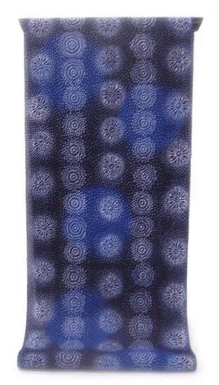 :::: 伝 統 の 注 染 ゆ か た ::::極上の肌触りで着心地さらっと綿紅梅   紺地に瑠璃紺の水玉と花丸の縞模様柄(反物)◇ お仕立て(国内手縫い)¥11,000(税別)で承ります。