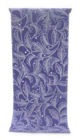 :::: 伝 統 の 注 染 ゆ か た ::::とっておきの涼感にうっとり 群青色の木綿絽   露を転がすしなやかな菊葉柄(反物)◇ お仕立て(国内手縫い)¥11,000(税別)で承ります。
