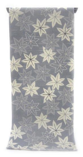 :::: 伝 統 の 注 染 ゆ か た ::::とっておきの涼感にうっとり 銀鼠色の木綿絽   陰日向に染められたもみじ柄(反物)◇ お仕立て(国内手縫い)¥11,000(税別)で承ります。