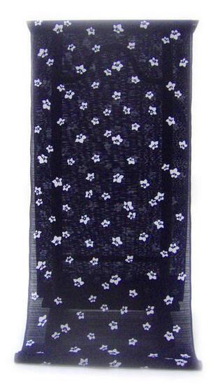 :::: 伝 統 の 注 染 ゆ か た ::::とっておきの涼感にうっとり 濃紺の木綿絽   星のように散りばめられた桔梗柄(反物)◇ お仕立て(国内手縫い)¥11,000(税別)で承ります。