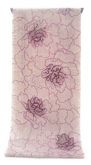 :::: 伝 統 の 注 染 ゆ か た ::::横に節糸 縦に茶系先染糸を交えた変わり織り   緻密な花脈に見惚れる赤紫ぼかし牡丹柄(反物)◇ お仕立て(国内手縫い)¥11,000(税別)で承ります。