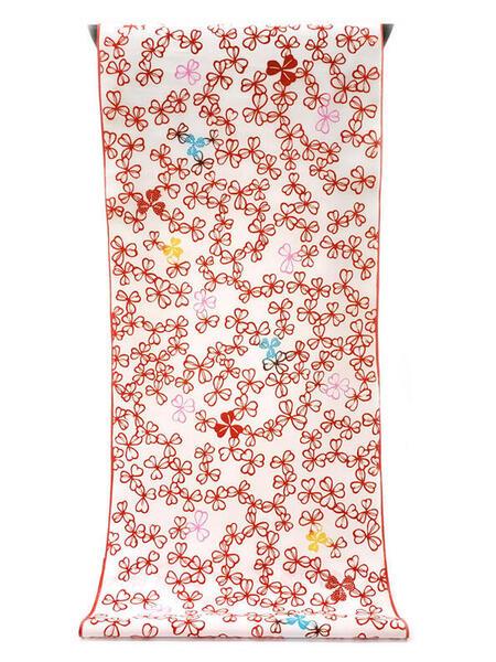 :::: 伝 統 の 注 染 ゆ か た ::::清涼感あふれる純白の木綿に   真っ赤に染まる三つ葉クローバー尽くし柄(反物)◇ お仕立て(国内手縫い)¥11,000(税別)で承ります。