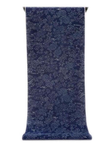 :::: 伝 統 の 注 染 ゆ か た ::::とっておきの涼感にうっとり 瑠璃紺色の木綿絽   流水に細かく散る和花尽くし柄(反物)◇ お仕立て(国内手縫い)¥11,000(税別)で承ります。
