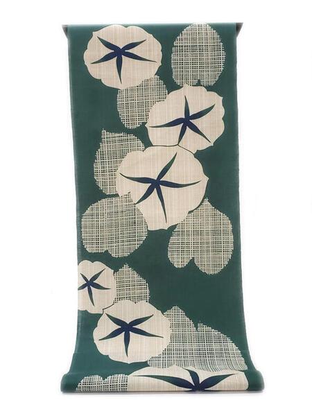 :::: 伝 統 の 注 染 ゆ か た ::::横に節糸 縦に茶系先染糸を交えた変わり織り   ビロード色に染めた朝顔柄(反物)◇ お仕立て(国内手縫い)¥11,000(税別)で承ります。