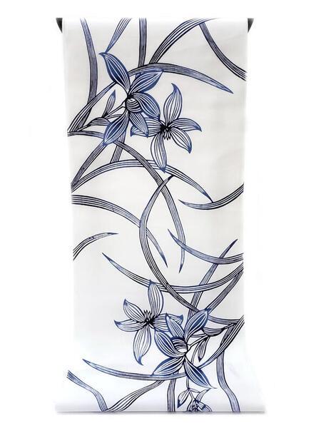 :::: 伝 統 の 注 染 ゆ か た ::::清涼感あふれる純白の木綿に   藍色ぼかし染め 凛々しく咲くラン柄(反物)◇ お仕立て(国内手縫い)¥11,000(税別)で承ります。