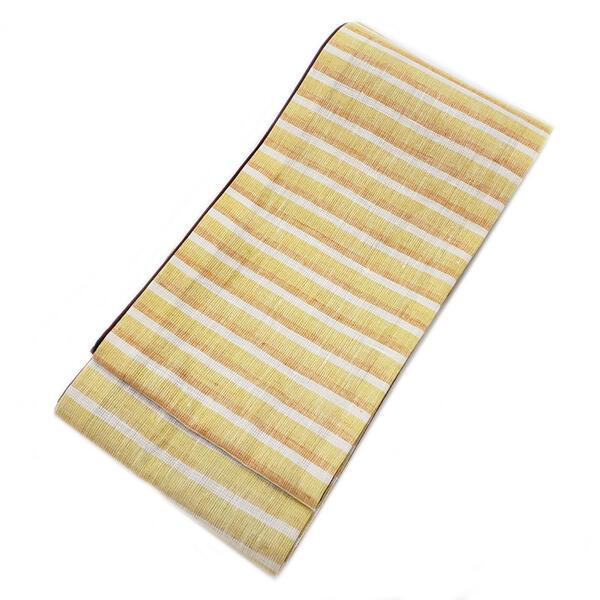 ◇ オトナ浴衣におすすめの逸品 ◇橙黄白 三色横段織り 半幅帯 ( 麻 100% )