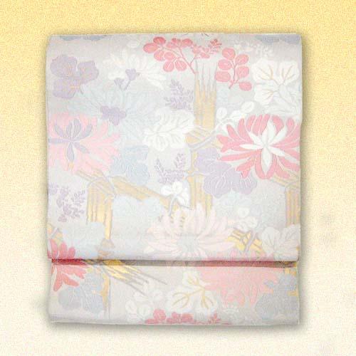 :::伝統的工芸品:::西陣織正絹本袋帯(垣根菊)  《未仕立て品・仕立て付き》