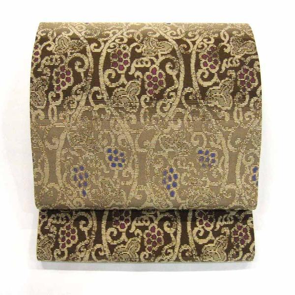 :::伝統的工芸品:::西陣織正絹袋帯(葡萄唐草)  《未仕立て品・仕立て付き》