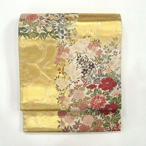 :::伝統的工芸品:::西陣織正絹本袋帯(百花流水)  《未仕立て品・仕立て付き》