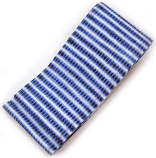 ◇ オトナ浴衣におすすめの逸品 ◇職人技が冴える 横段柄の板締め絞りの半幅帯