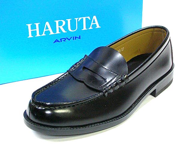 ハルタ 6550 ポイント10倍 送料無料 メンズ ローファー HARUTA 6550 メンズコインローファー(ブラック) 国産 3E 通学 学生