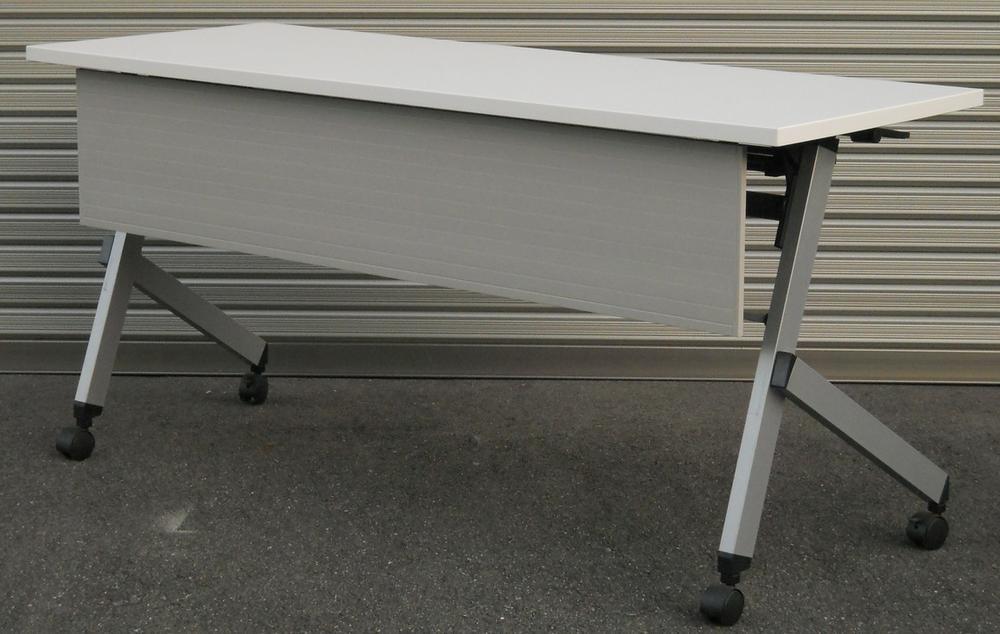 わけあり アウトレット(訳あり)サイドスタックテーブルPLT1560M型 天板:ピュアホワイト色幕板付き【送料無料】