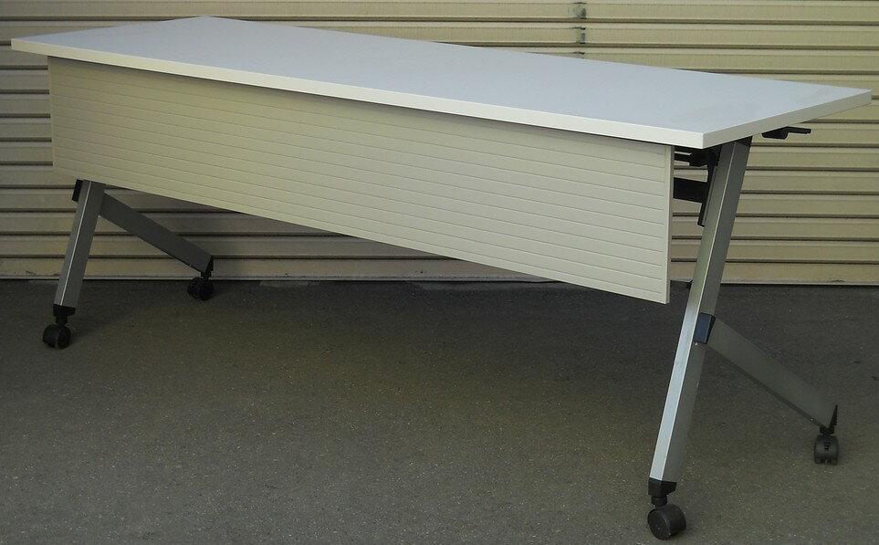 わけあり アウトレット(訳あり)サイドスタックテーブルPLT1860MT型 天板:ピュアホワイト色幕板付き・棚付き【送料無料】
