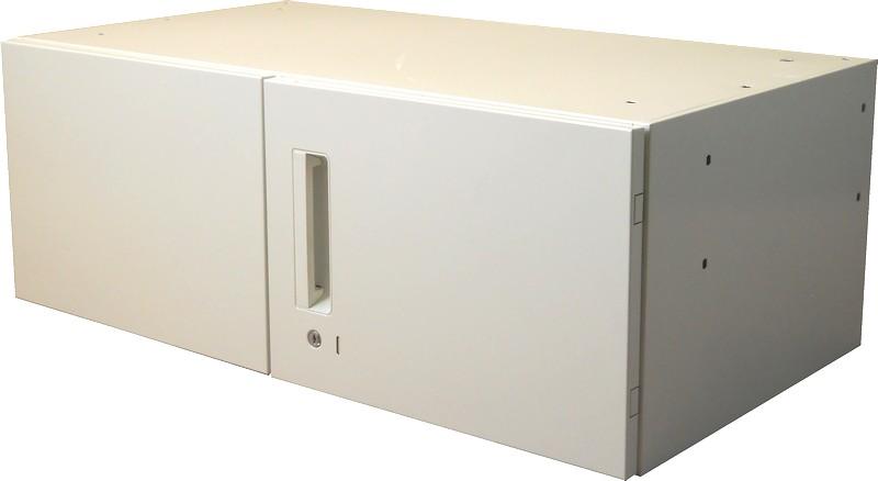 アウトレット プラス 両開き書庫ランマキャビネットW900,D500,H330ミリホワイト色【送料無料】