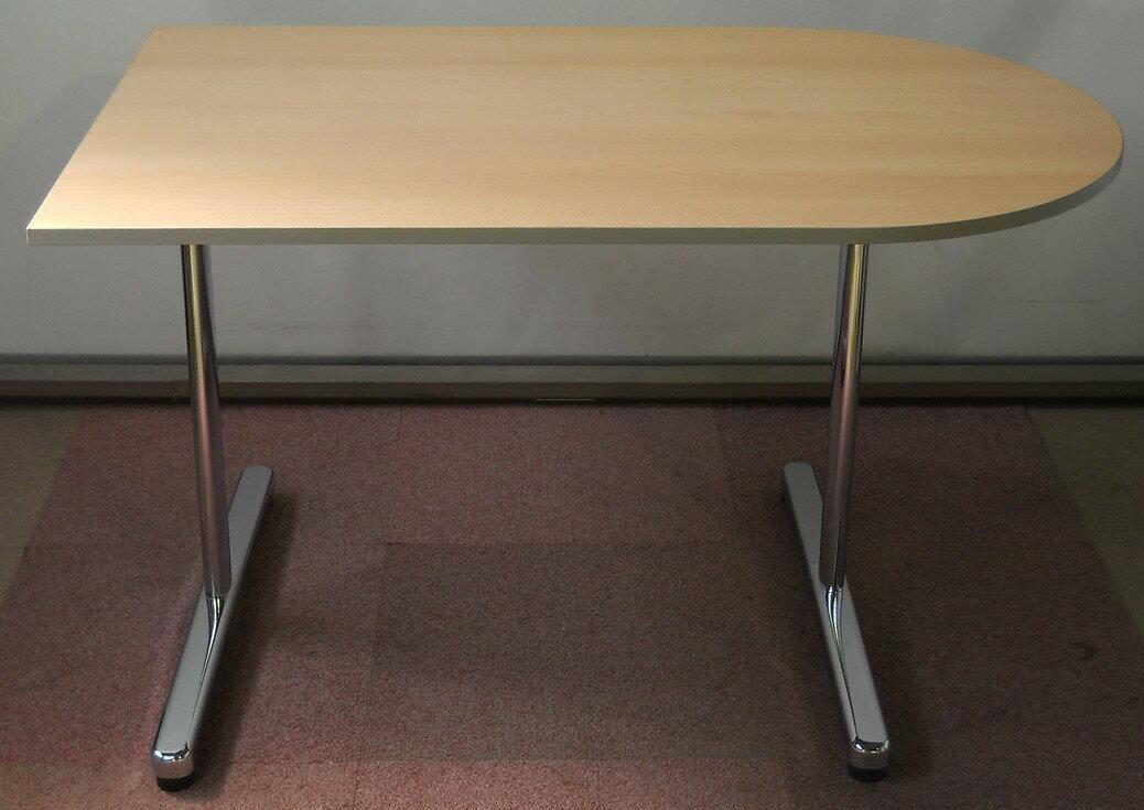 わけあり アウトレット(訳あり)ミーティングテーブル ST-1000シリーズ木目天板 メッキ脚タイプW1200,D750,H700ミリ