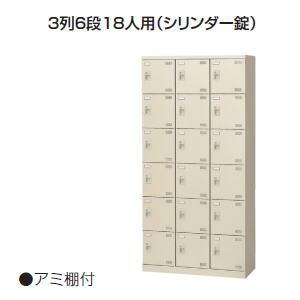 日本製・完成品 SLBシューズボックス 3列6段18人用シリンダー錠 W900×D350×H1800ミリ SLB-18-S2 【送料無料】