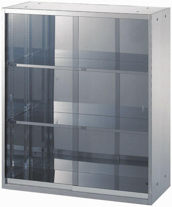 【廃番品・在庫処分】わけあり アウトレット(訳あり)ステンレス収納庫(SUS430)ガラス扉 引き違い書庫W900,D500,H1050ミリ【送料無料】