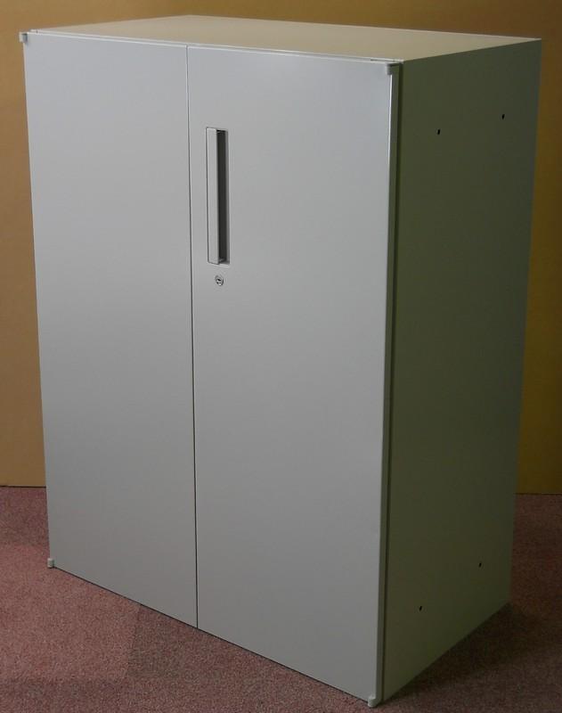 【わけあり アウトレット(訳あり)】W800ミリ 両開き書庫H1050ミリ T-10Dペールグレイ色【送料無料】