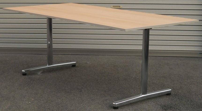 わけあり アウトレット(訳あり)ミーティングテーブル ST-1000シリーズ木目天板 メッキ脚タイプW1800,D900,H700ミリ【送料無料】