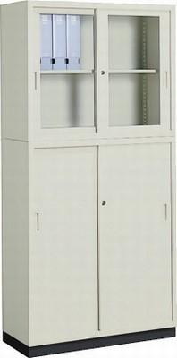 コクヨ(KOKUYO) A4サイズ対応保管庫(書庫) W880ミリタイプ(上下セット) 上=ガラス扉、下=スチール扉 S-325GF1N+S-345F1N+S-314BF4【送料無料】