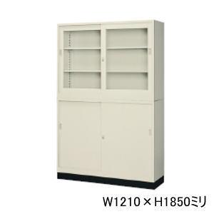 日本製・完成品 スチール書庫 上下組 (ベース・連結金具付き) W1210×D400ミリ 43定番セット G-43SG+G-43SS+43B【送料無料】