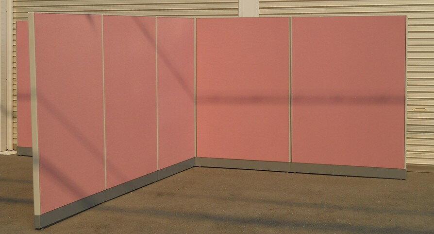 ウチダ ローパーティションJUSTパネル H1525ミリ 7枚+コーナーポールローズ色【中古】【送料無料】【smtb-k】【ky】