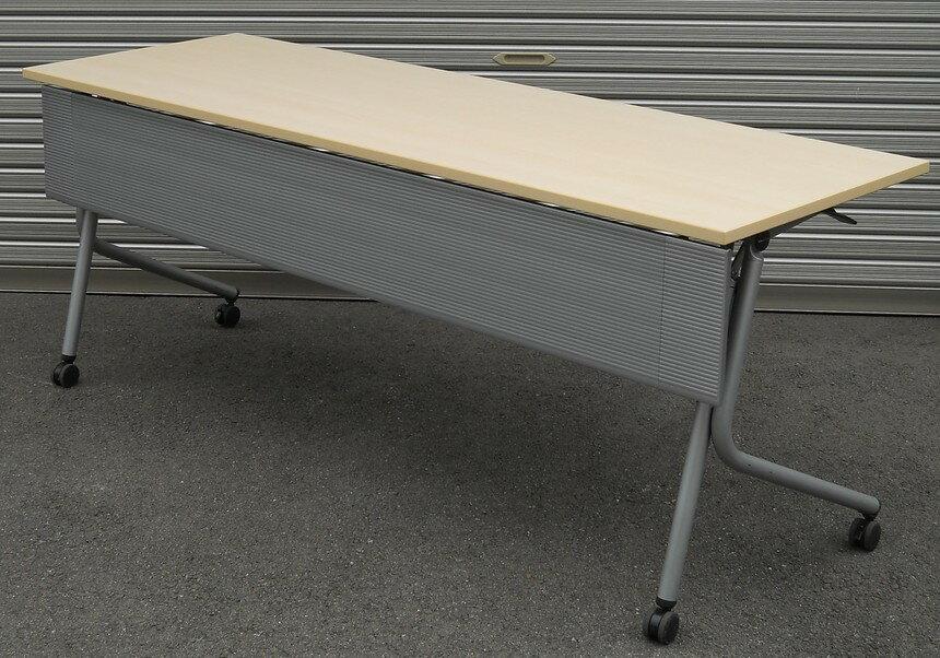 中古 会議用平行スタックテーブル(幕板付き)W1800,D600,H700ミリ(キャスター付 折りたたみテーブル)【中古】【送料無料】
