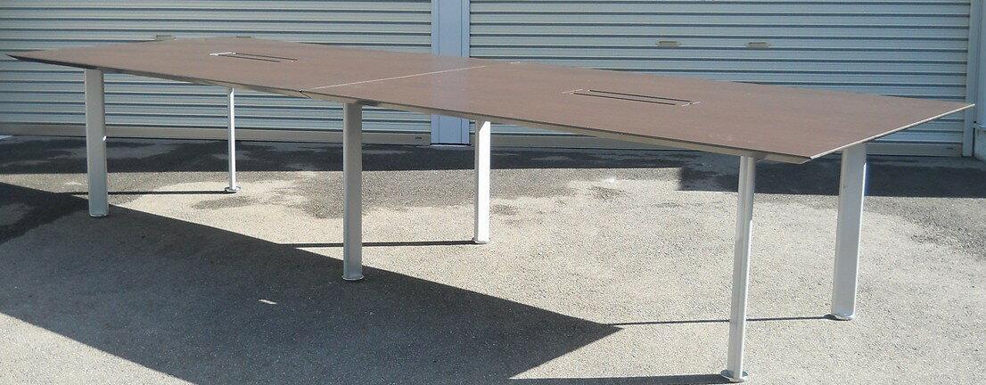 大型ミーティングテーブルW3600,D1200ミリ 木目天板【中古】