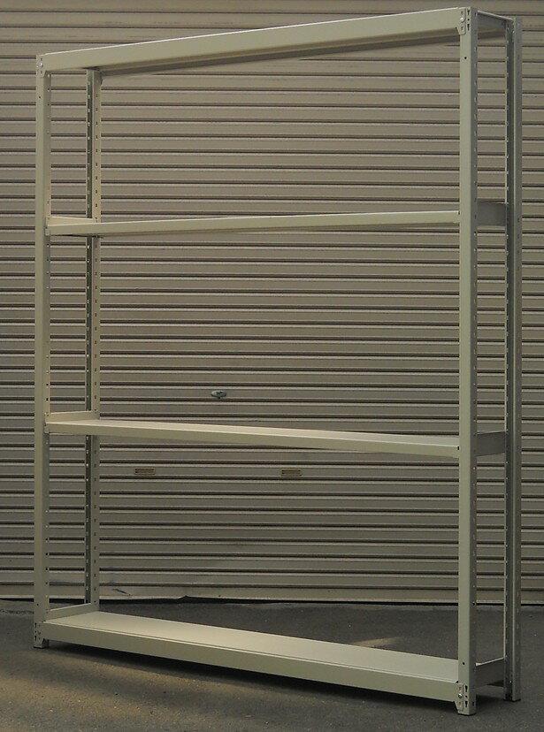 ボルトレスラック軽中量棚 M200H2100,W1800,D300ミリ 天地4段【中古】組立が簡単なボルトレスタイプです。