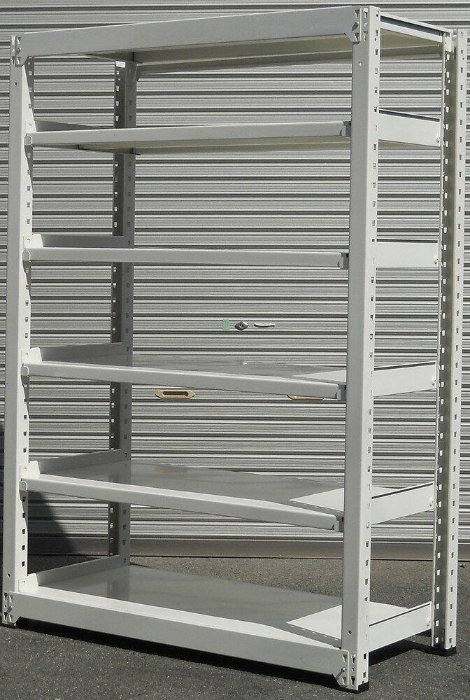 ボルトレスラック中量棚Chunichi ホワイト色H1810,W1260,D570ミリ 天地6段【中古】組立が簡単なボルトレスタイプです。