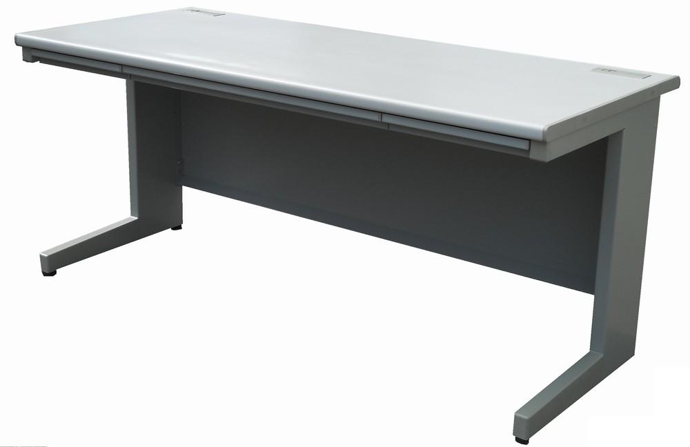 ウチダ 平デスク(平机)W1600,D700,H700ミリ天板ペールグレイ色 本体マイルドグレー色【中古】 【送料無料】