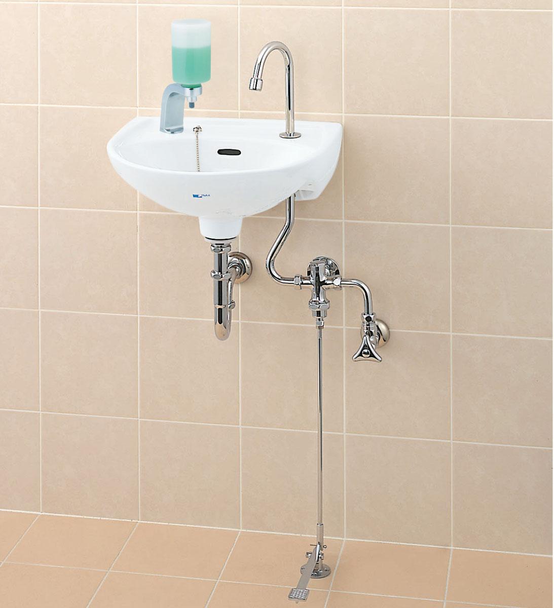◇LIXIL INAX 医療施設用流し足踏式手洗水栓セットSトラップ【品番L-15G】【MSIウェブショップ】