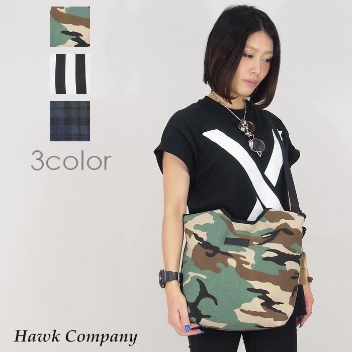 【Hawk Company ホークカンパニー】 2WAYキャンバストートバッグ (CAMO/STRIPE/BLACK WATCH) トート ショルダー バッグ 柄 2way 小物 グッズ バッグ プレゼント メンズ men's レディース lady's 4007