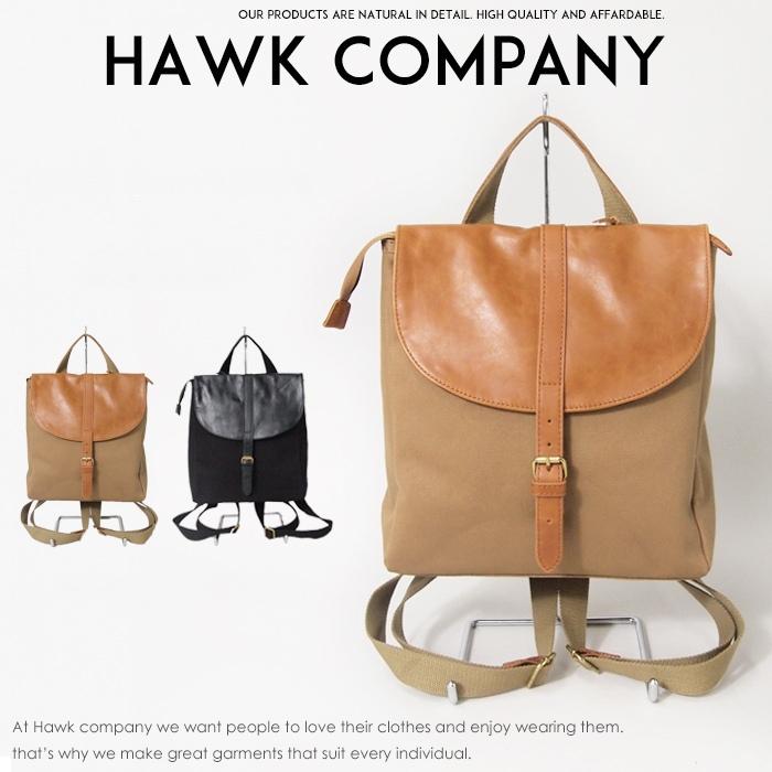 【Hawk Company ホークカンパニー】 バッグ レザーキャンバスリュック 小物 グッズ メンズ men's レディース lady's プレゼント 彼氏 男性 4037