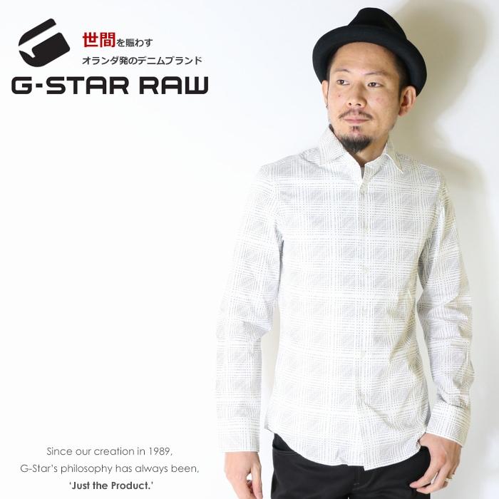 【2019年 春夏新作】【G-STAR RAW ジースターロウ】 シャツ 長袖シャツ ロゴ 総柄 ジースターロー gstar メンズ men's 国内正規品 インポート ブランド 海外ブランド D11808-A876