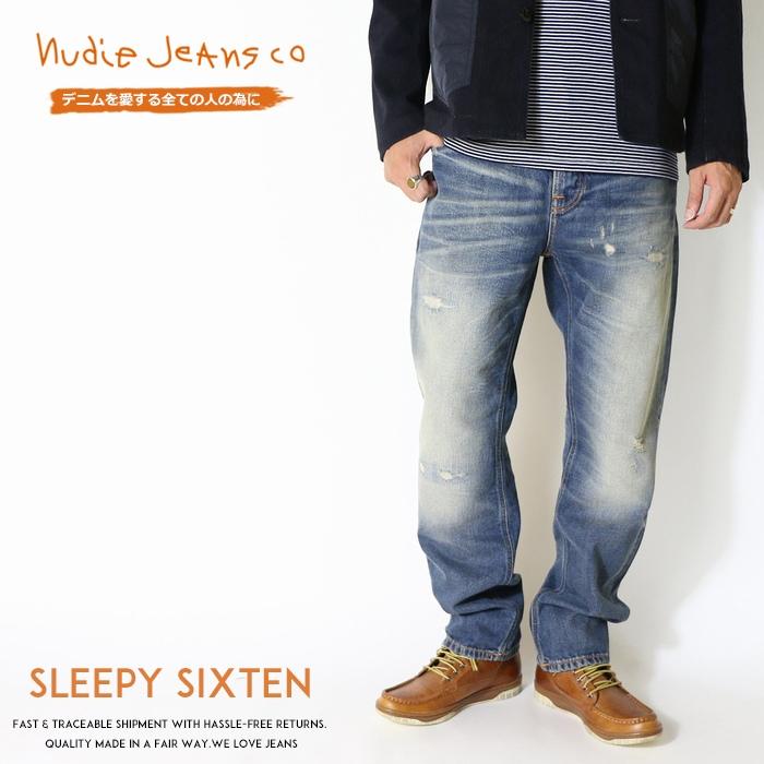 【nudie jeans ヌーディージーンズ】 Sleepy Sixten スリーピーシクステン リラックスストレート クラッシュ リペア men's メンズ インポートブランド 海外 ブランド 50161-1161-N052