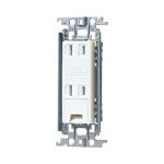 Panasonic パナソニック WTF1532WK 埋込アースターミナル付ダブルコンセント 公式 15A ホワイト 金属取付枠付 海外限定 125V