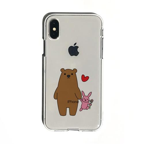 ソフトクリアケース クマとウサギ DS14780i58 iPhone X 春の新作 XS アイテム勢ぞろい 5.8インチ イラストと一体化することによってロゴが生かされるデザイン Dparks