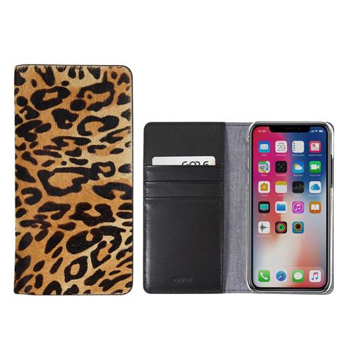 <GAZE(ゲイズ) > 【iPhone XR 6.1インチ】Leopard Calf Hair Diary ハラコ素材にレオパード柄を施した高級感あふれるダイアリータイプのケース GZ13473i61