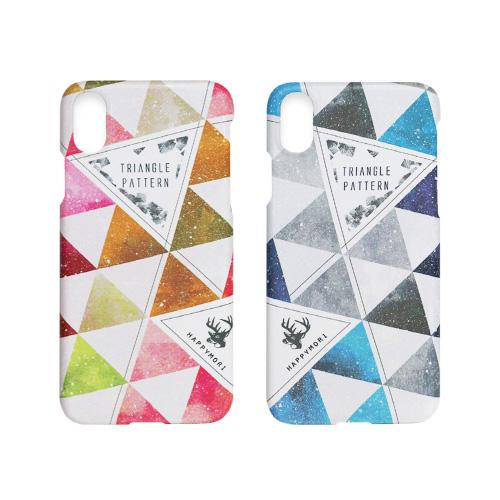 Triangle Pattern Bar HM14444i58 Happymori iPhone 優しい色使いの三角模様デザインがモダンでおしゃれなケース 保証 トライアングルパターン HM14443i58 5.8インチ X 人気激安 XS